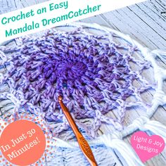Easy Mandala Dreamcatcher – Free Crochet Pattern & Video Tutorial – Light and Joy Designs Crochet Feathers Free Pattern, Crochet Dreamcatcher Pattern Free, Crochet Mandala Pattern, Crochet Doilies, Crochet Round, Easy Crochet, Free Crochet, Double Crochet, Cushion Cover Pattern