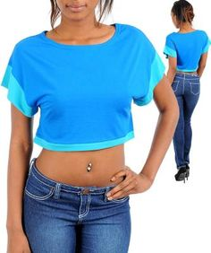 Blue Rayon Crop Two Tone Top - Size S - New - Free Shipping