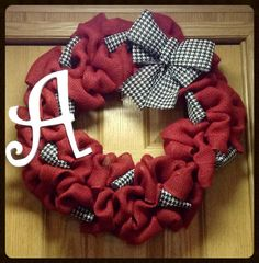 Alabama burlap wreath with monogram- initial wreath- front door wreath- Alabama wreath- houndstooth-