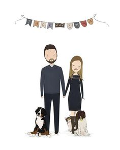 Custom Couple Portrait-Personalized Portrait-Custom Couple Illustration-Unique Wedding Gift-Family Illustration With Pets-Printable Portrait - Etsy Sellers! Pin your items here! Unique Wedding Gifts, Trendy Wedding, Unique Weddings, Diy Wedding, Wedding Ideas, Stuffed Animals, Family Illustration, House Drawing, Lol Dolls