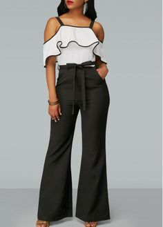 Belted Strappy Cold Shoulder Ruffle Overlay Jumpsuit on sale only US$38.21 now, buy cheap Belted Strappy Cold Shoulder Ruffle Overlay Jumpsuit at liligal.com