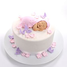 Baby Girl Cake Topper with Pale Pink Blanket by lilsculpture