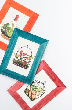 Makeover boring wooden frames with a pop of color!