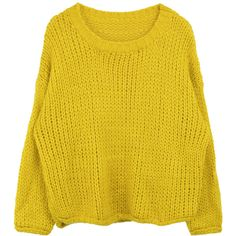 Chunky Knit Solid Tone Sweater ❤ liked on Polyvore featuring tops, sweaters, bunny sweater, yellow top, chunky sweater, loose sweater and round neck sweater