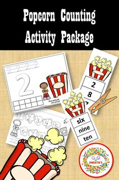 Count to 10 with POPCORN!  So many ways to learn!  Mats, clip cards, and a worksheet!  #teacherspayteachers #countto10