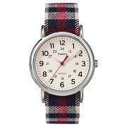 Women's Timex Weekender™ Full Size Slip Thru Nylon Strap Watch  - Red Plaid with Silvertone case