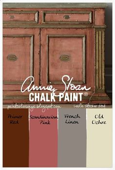 COLORWAYS Annie Sloan Chalk Paint. Scandinavian Pink, Primer Red, French Linen, and Old Ochre. Inspirational photo from Pinterest. Carl Larsson colors Sweden