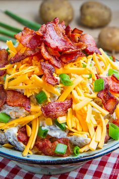 Loaded Baked Potato Salad Recipe ~ All of the flavours of fully loaded baked potatoes including bacon, cheddar, sour cream and green onions in a potato salad