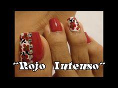 Rojo Intenso Otoño e Invierno para las uñas  de los pies/Fall design wit...