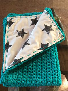 Fabric lined, Crochet pram blanket :)