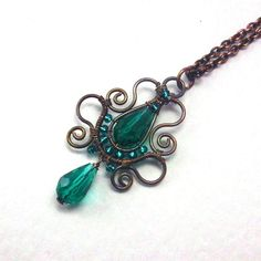 New to AnnaWireJewelry on Etsy: Emerald Teardrop Copper Pendant Necklace Soutache Styled Wire Wrapped Jewelry (33.99 USD)