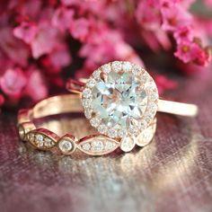 Halo Wedding Ring Set Rose Gold Aquamarine Engagement Ring and Bezel Scalloped Diamond Wedding Band 8mm Aqua Gemstone Ring Bridal Set