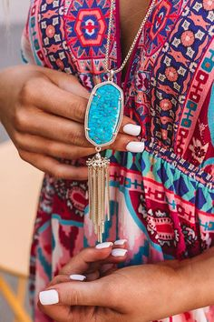 """The """"Rayne Necklace in Bronze Veined Turquoise Magnesite"""" features our signature oval-shaped stone and a playful tassel, making this a must-have statement that can be worn with anything! Long Pendant Necklace, Online Boutiques, Boutique Clothing, Pendants, Bronze, Turquoise, Chain, Womens Fashion, Jewelry Ideas"""