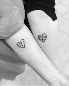 + ideas for beautiful and unique small tattoos for gir.- + ideas for beautiful and unique small tattoos for girls geometrical hearts, tattoo on the forearm, small tattoo ideas for women, his and hers tattoo - Model Tattoos, Bff Tattoos, Friend Tattoos, Couple Tattoos, Body Art Tattoos, Tatoos, Sibling Tattoos, Mini Tattoos, Family Tattoos