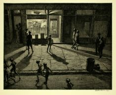 Martin Lewis, Spring Night, Greenwich Village, drypoint and sandpaper ground, 1930 Norman Rockwell, Rockwell Kent, Greenwich Village, Bedford Street, Drypoint Etching, Illustration Art, Illustrations, Nocturne, Edward Hopper