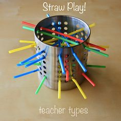 A short and sweet post today. Remember this post about simple baby and toddler play ideas? Little Miss and I discovered that my straws wouldn& fit through the little holes of my colander. Activities For 1 Year Olds, Small Group Activities, Motor Activities, Toddler Activities, Toddler Games, Educational Activities, Toddler Play, Toddler Crafts, Straw Crafts
