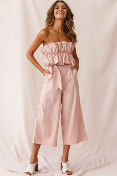 Shop the Thea Ruffle Crop Top Jumpsuit Blush exclusively at Selfie Leslie! Crop Top Outfits, Summer Outfits, Cute Outfits, Prom Outfits, Cropped Tops, Casual Chic, Jumpsuit Dressy, Strapless Jumpsuit, Bell Sleeve Dress