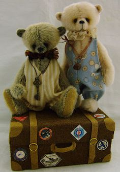 Oliver And Dicken On Their Vintage Suitcase Wendy Chamberlain #teddy, #teddies, #bears, #toys, #pinsland, apps.facebook.com...