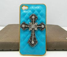 iPhone 4 case iphone 5 case Golden  Pearl black Cross by dnnayding, $21.99