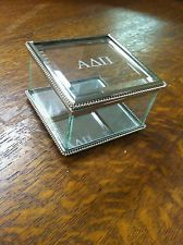Alpha Delta Pi Sorority Glass Etched Trinket Jewelry Box-Big Little Sister Gift!