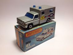Vintage Matchbox No. 41 Ambulance RARE model with Paris-Dakar stickers, Blue windows, in mint condition, in mint box. 1977. on Etsy, £30.00