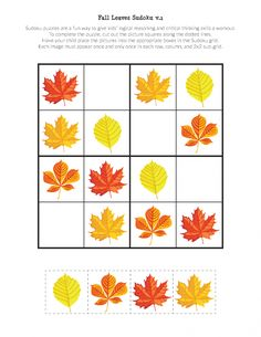 Fall Leaves Sudoku Puzzles - Gift of Curiosity Body Preschool, Preschool Learning Activities, Autumn Activities, Toddler Activities, Kids Learning, Sudoku Puzzles, Puzzles For Kids, Cognitive Activities, English Worksheets For Kids