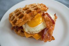 Bacon, egg, cheese on a waffle hash brown sandwich. This Breakfast Sandwich Understands Your Needs Brunch Recipes, Breakfast Recipes, Breakfast Sandwiches, Brunch Foods, Egg Sandwiches, Hashbrown Waffles, Hashbrown Breakfast, Breakfast Casserole, Hangover Food