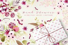 Pink Flowers by Webvilla on @creativemarket