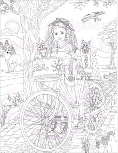 Fantasy Art Adult Coloring Page Bicycle Cat Aria Printable Digital Download Book By Kristi