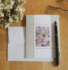 5 Blank Note Cards - Purple Crocus cards, Spring Flower cards, Invitations, Thank You cards, Paper Anniversary, Thinking of You, Watercolor