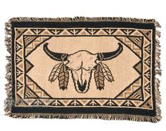 """Cotton Southwestern Placemat -13""""""""x19"""""""" -Buffalo Skull"""