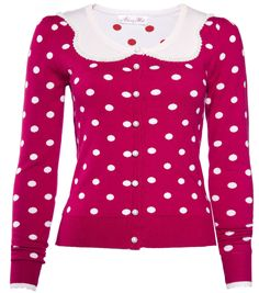 long sleeve cardigan with polka dot pattern and pearl trimmed collar and pearl buttons..