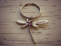 DREAM dragonfly metal stamped key chain - pewter- you choose Swarovski - Whispering Metalworks