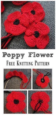 Poppy Flower Free Knitting Pattern Crochet Fox Patterns - Page 2 of 4 - Super Ideas For Knitting Tutorial Beginn. Knitted Poppy Free Pattern, Poppy Crochet, Knitted Flowers Free, Knitted Poppies, Crochet Flower Patterns, Easy Knitting Patterns, Loom Knitting, Free Knitting, Knit Crochet