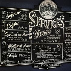 Here she is…the giant services menu for A project that's been cooking for a while now. A sign painted on MDO with live data elements. Every service has a real-time display of its wait time. The logo on top is made of frosted. Modern Barber Shop, Barber Shop Interior, Barber Shop Decor, Barber Shop Vintage, Bart Styles, Barbershop Design, Barbershop Ideas, Der Plan, Haircuts For Men