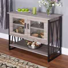 Stylish Kitchen Buffet 2-Door Storage Cabinet Gray Reclaimed Look Kitchen Decor