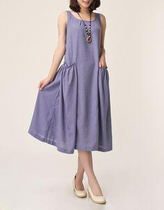 Light purple linen dress maxi dress by originalstyleshop on Etsy, $56.00