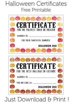 Free printable halloween award certificates its a certificate halloween certificates give them out to trick o treaters as well as candy or at a halloween party click to download halloween printable halloween yadclub Gallery