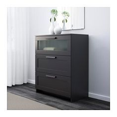IKEA - BRIMNES, 3-drawer chest, black/frosted glass, , Smooth running drawers with pull-out stop.