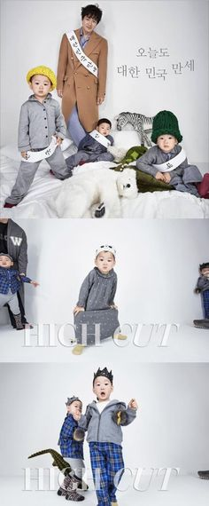 Song Il Kook and his triplets in latest High Cut Magazine! His kids are just simply adorable especially my bias Minguk-ie~~~But of course I do admire Manse's free spirit attitude and always caring for his brothers, Daehan Song Il Gook, Man Se, Song Triplets, Korean Variety Shows, Superman Baby, Song Daehan, Baby Portraits, Children Photography, My Boys