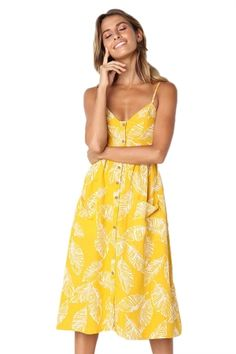 ed2b61d21af5 Leaf Vein Print Yellow Button Down Sundress. Long Summer DressesBeach ...