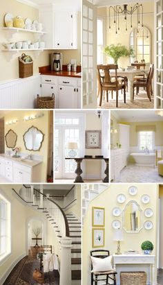 indoor paint colors Bright and airy, cheerful and happy, bringing the garden indoors Pale yellow walls decor ideas! Vanilla Cookie from Benjamin Moore on the wall. Pale Yellow Paints, Pale Yellow Walls, Yellow Paint Colors, Room Paint Colors, Yellow Painting, Painting Walls, Wall Colors, Bright Yellow, Yellow Painted Rooms