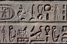 Edfu, wall relief with hieroglyphic inscription in the Temple of Horus (built 237–157 BC). Edfu, Upper Egypt