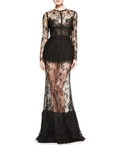 For all my Summer red carpet parties--Elie Saab Sheer-Skirt Lace Long-Sleeve Gown Long Sleeve Lace Gown, Long Sleeve Evening Gowns, Lace Evening Gowns, Sungoh 24k, Elie Saab Gowns, Silk Gown, Glamour, Lace Maxi, Lace Dresses