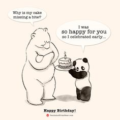 'Happy Birthday for you!' Photographic Print by Panda And Polar Bear - A cute B-day design for your special one! :] / We've got another version here:Happy Birthday for me! / From the webcomic Panda And Polar Bear / Original post: Happy Birthday! Happy Birthday Bear, Happy Birthday Drawings, Happy Birthday Quotes For Friends, Panda Birthday, Happy Birthday Greetings, Funny Happy Birthday Pics, Happy Birthday Cartoon Images, Happy Birthday Artist, Cute Birthday Wishes
