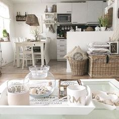 white dining and kitchen
