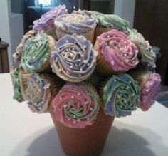 Multicolored cupcake flower bouquet