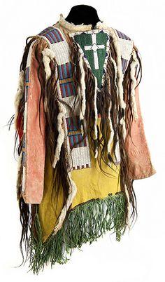 Dakota man's beaded and painted hide shirt, circa 1870s.