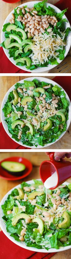 Caesar Salad with Cannellini Beans and Avocado – healthy, gluten free, vegetarian salad. Creamy, rich Cannellini Beans are a great, gluten-free alternative to bread croutons in this Ceasar salad. Raw Food Recipes, Veggie Recipes, Salad Recipes, Vegetarian Recipes, Cooking Recipes, Healthy Recipes, Healthy Snacks, Healthy Eating, Ceasar Salad