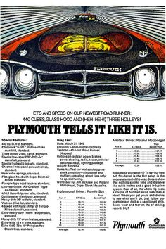 "1969 Plymouth Road Runner 440. I love these old ""MOD"" ads from the sixties."